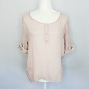 Bobeau sheer pink cut out back top women's Small